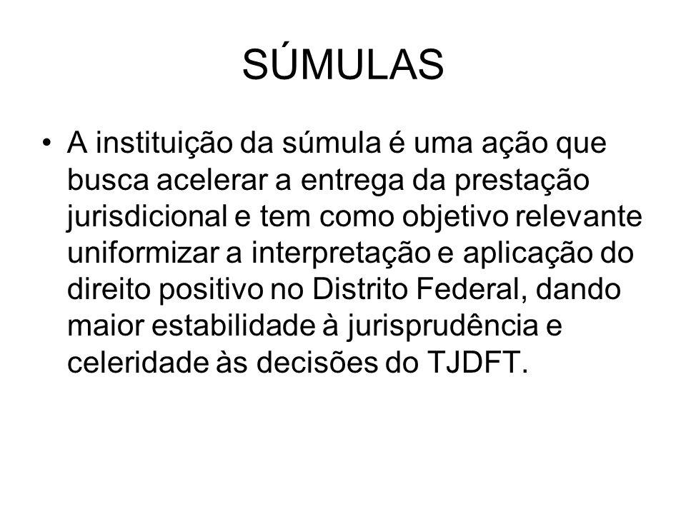SÚMULAS A instituição da súmula é uma ação que busca acelerar a entrega da prestação jurisdicional e tem como objetivo relevante uniformizar a interpr