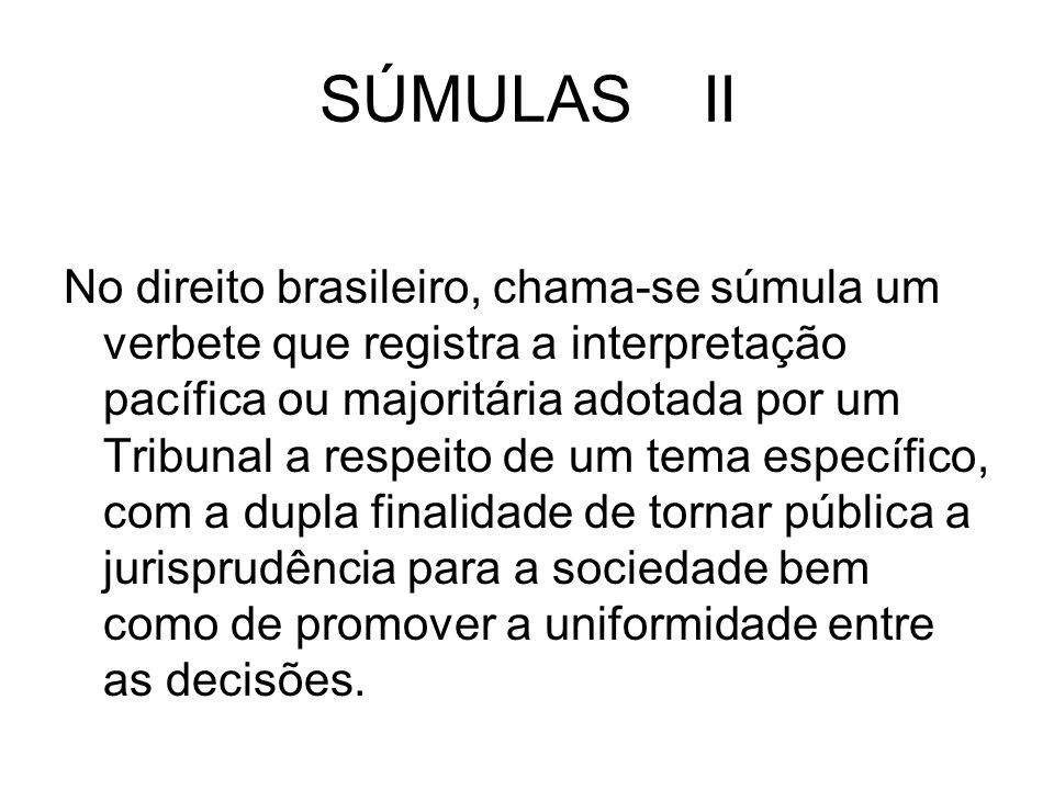 SÚMULAS II No direito brasileiro, chama-se súmula um verbete que registra a interpretação pacífica ou majoritária adotada por um Tribunal a respeito d