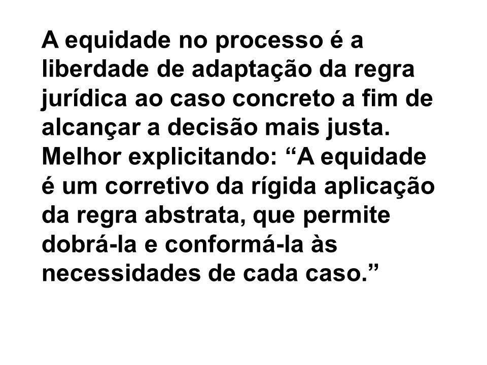 A equidade no processo é a liberdade de adaptação da regra jurídica ao caso concreto a fim de alcançar a decisão mais justa.