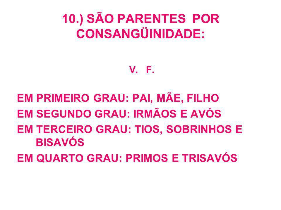 10.) SÃO PARENTES POR CONSANGÜINIDADE: V.F.