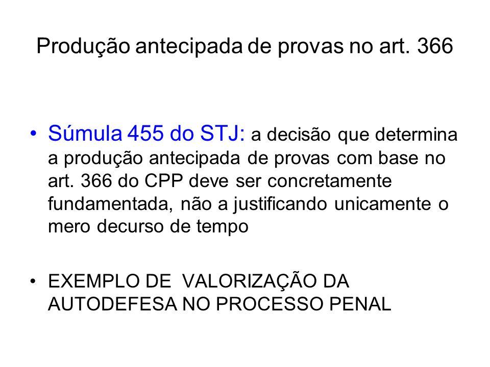 Produção antecipada de provas no art. 366 Súmula 455 do STJ: a decisão que determina a produção antecipada de provas com base no art. 366 do CPP deve