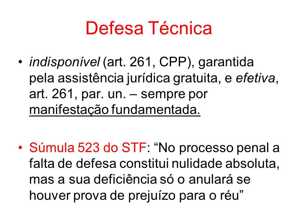 Defesa Técnica indisponível (art. 261, CPP), garantida pela assistência jurídica gratuita, e efetiva, art. 261, par. un. – sempre por manifestação fun