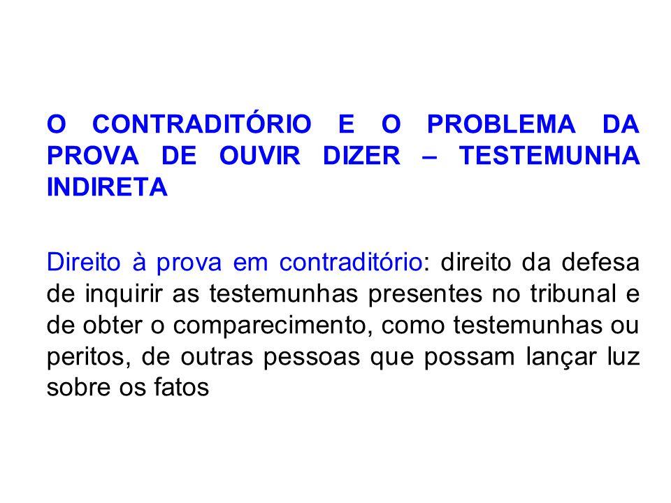 O CONTRADITÓRIO E O PROBLEMA DA PROVA DE OUVIR DIZER – TESTEMUNHA INDIRETA Direito à prova em contraditório: direito da defesa de inquirir as testemun