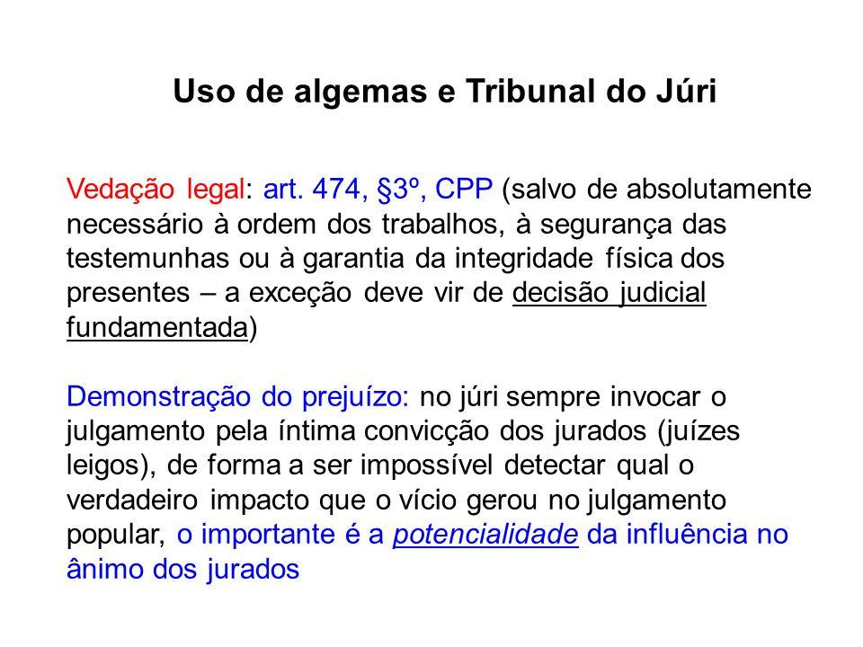 Uso de algemas e Tribunal do Júri Vedação legal: art. 474, §3º, CPP (salvo de absolutamente necessário à ordem dos trabalhos, à segurança das testemun