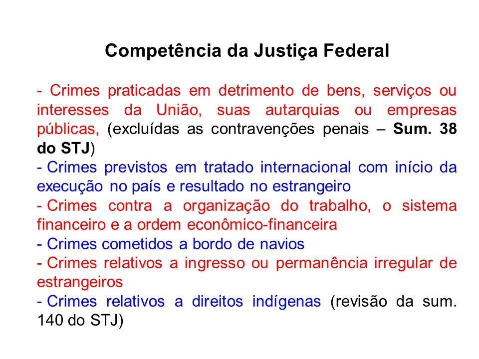 Competência da Justiça Federal - Crimes praticadas em detrimento de bens, serviços ou interesses da União, suas autarquias ou empresas públicas, (excl