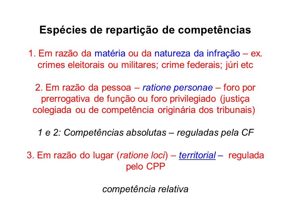 Espécies de repartição de competências 1. Em razão da matéria ou da natureza da infração – ex. crimes eleitorais ou militares; crime federais; júri et