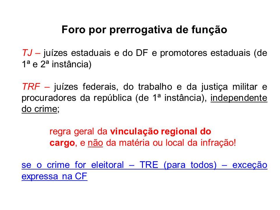 Foro por prerrogativa de função TJ – juízes estaduais e do DF e promotores estaduais (de 1ª e 2ª instância) TRF – juízes federais, do trabalho e da ju