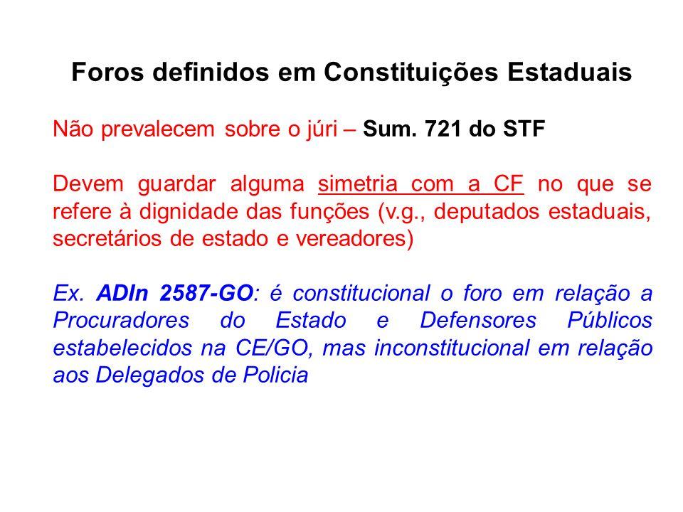 Foros definidos em Constituições Estaduais Não prevalecem sobre o júri – Sum. 721 do STF Devem guardar alguma simetria com a CF no que se refere à dig