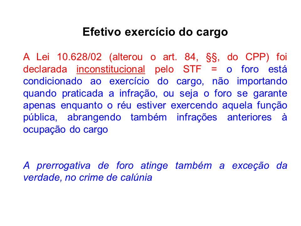 Efetivo exercício do cargo A Lei 10.628/02 (alterou o art. 84, §§, do CPP) foi declarada inconstitucional pelo STF = o foro está condicionado ao exerc