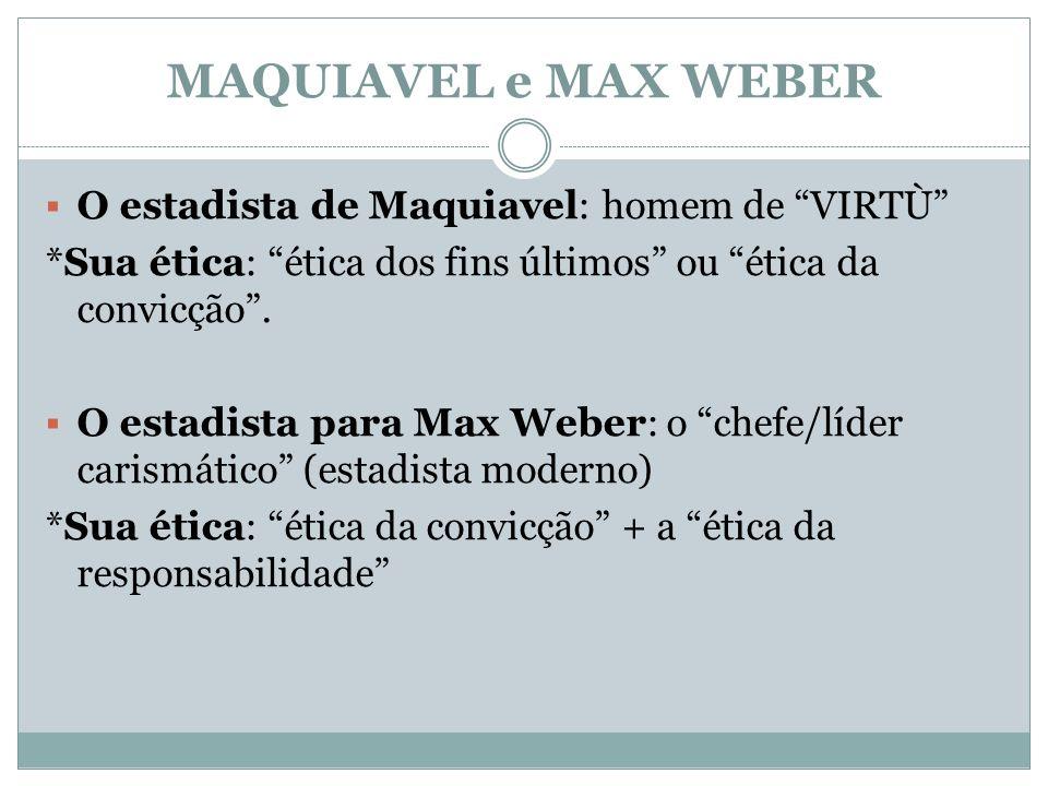 MAQUIAVEL e MAX WEBER O estadista de Maquiavel: homem de VIRTÙ *Sua ética: ética dos fins últimos ou ética da convicção. O estadista para Max Weber: o
