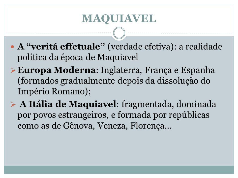 MAQUIAVEL A veritá effetuale (verdade efetiva): a realidade política da época de Maquiavel Europa Moderna: Inglaterra, França e Espanha (formados grad
