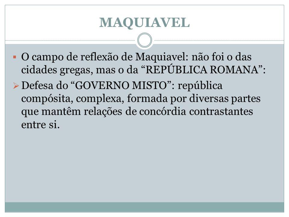 MAQUIAVEL O campo de reflexão de Maquiavel: não foi o das cidades gregas, mas o da REPÚBLICA ROMANA: Defesa do GOVERNO MISTO: república compósita, com