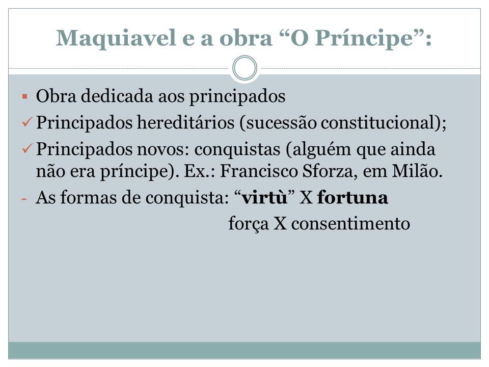 Maquiavel e a obra O Príncipe: Obra dedicada aos principados Principados hereditários (sucessão constitucional); Principados novos: conquistas (alguém