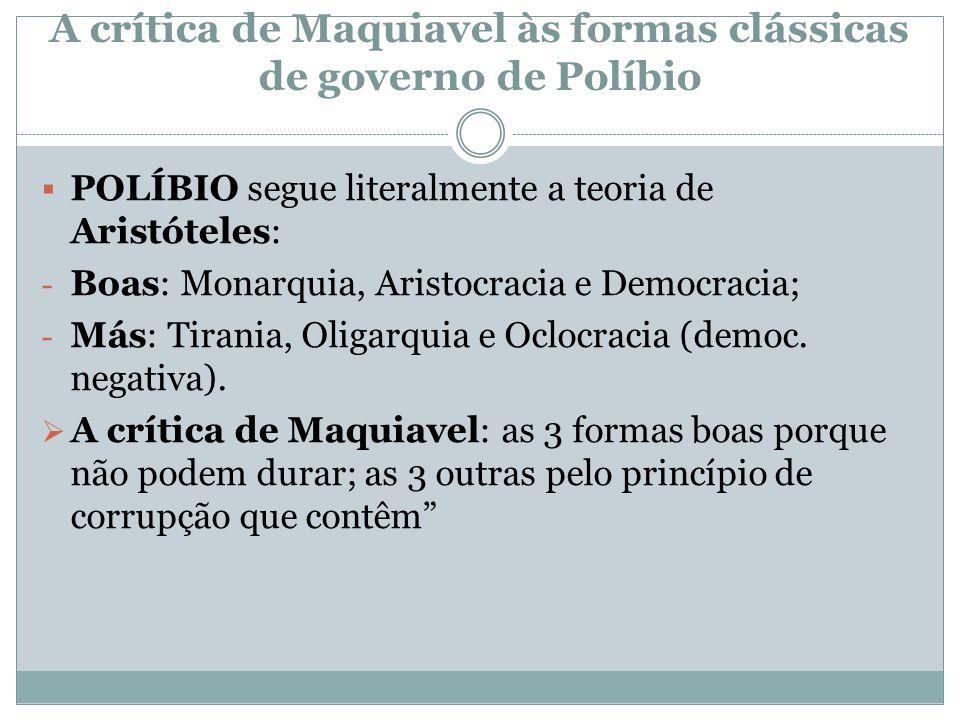 A crítica de Maquiavel às formas clássicas de governo de Políbio POLÍBIO segue literalmente a teoria de Aristóteles: - Boas: Monarquia, Aristocracia e