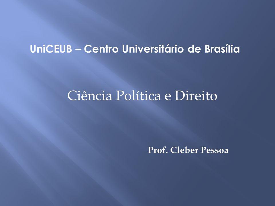 Prof. Cleber Pessoa UniCEUB – Centro Universitário de Brasília Ciência Política e Direito