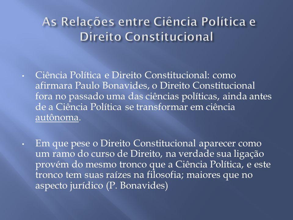 Ciência Política e Direito Constitucional: como afirmara Paulo Bonavides, o Direito Constitucional fora no passado uma das ciências políticas, ainda a