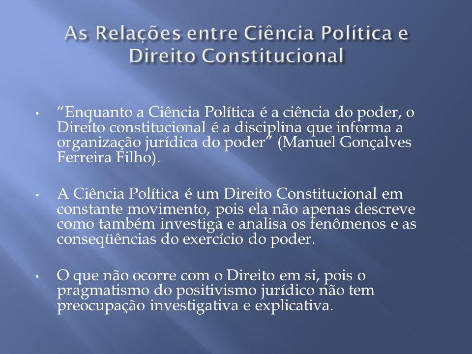 Enquanto a Ciência Política é a ciência do poder, o Direito constitucional é a disciplina que informa a organização jurídica do poder (Manuel Gonçalve