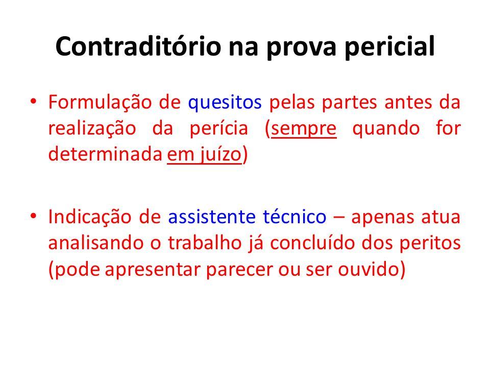 Contraditório na prova pericial Formulação de quesitos pelas partes antes da realização da perícia (sempre quando for determinada em juízo) Indicação