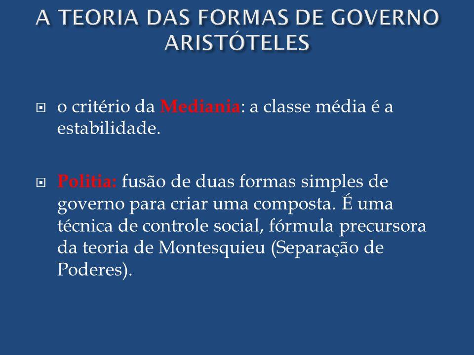 o critério da Mediania : a classe média é a estabilidade. Politia: fusão de duas formas simples de governo para criar uma composta. É uma técnica de c