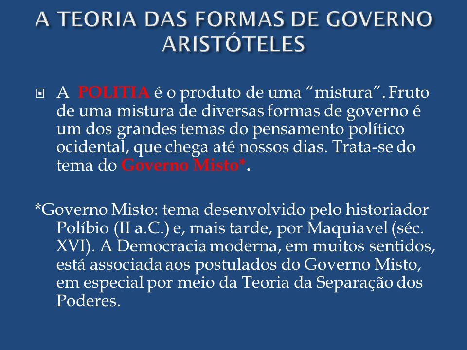 A POLITIA é o produto de uma mistura. Fruto de uma mistura de diversas formas de governo é um dos grandes temas do pensamento político ocidental, que