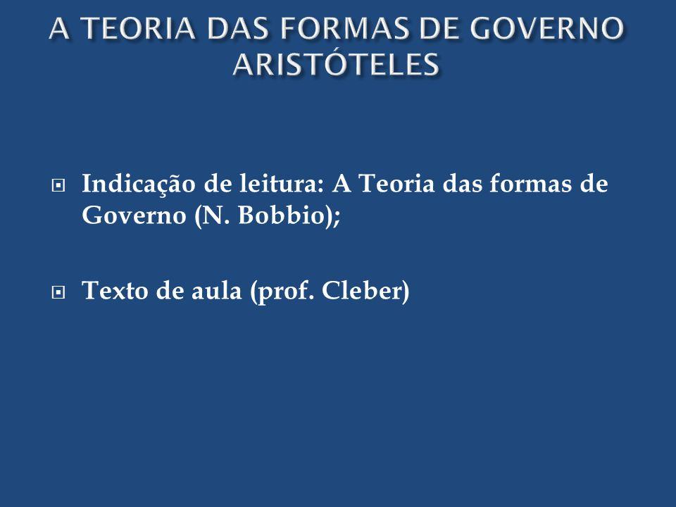 Indicação de leitura: A Teoria das formas de Governo (N. Bobbio); Texto de aula (prof. Cleber)