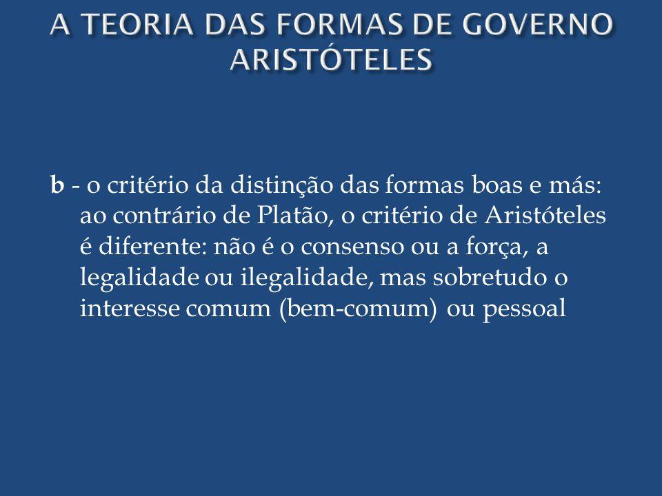 b - o critério da distinção das formas boas e más: ao contrário de Platão, o critério de Aristóteles é diferente: não é o consenso ou a força, a legal