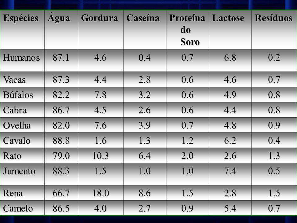 EspéciesÁguaGorduraCaseína Proteína do Soro LactoseResíduos Humanos87.14.60.40.76.80.2 Vacas87.34.42.80.64.60.7 Búfalos82.27.83.20.64.90.8 Cabra86.74.