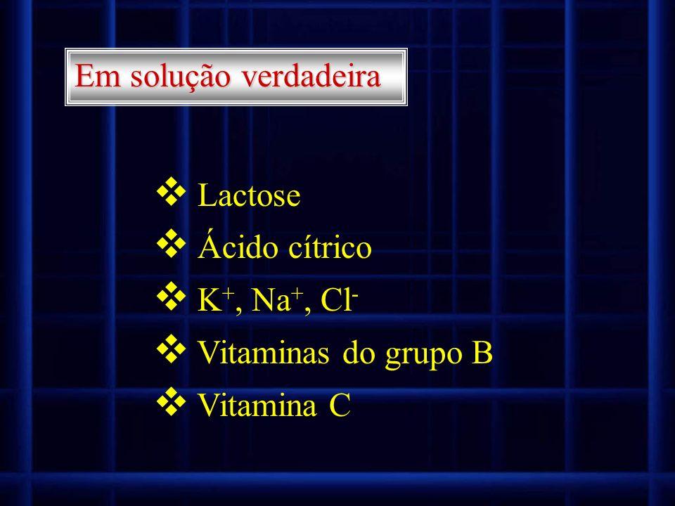 Em solução verdadeira Lactose Ácido cítrico K +, Na +, Cl - Vitaminas do grupo B Vitamina C