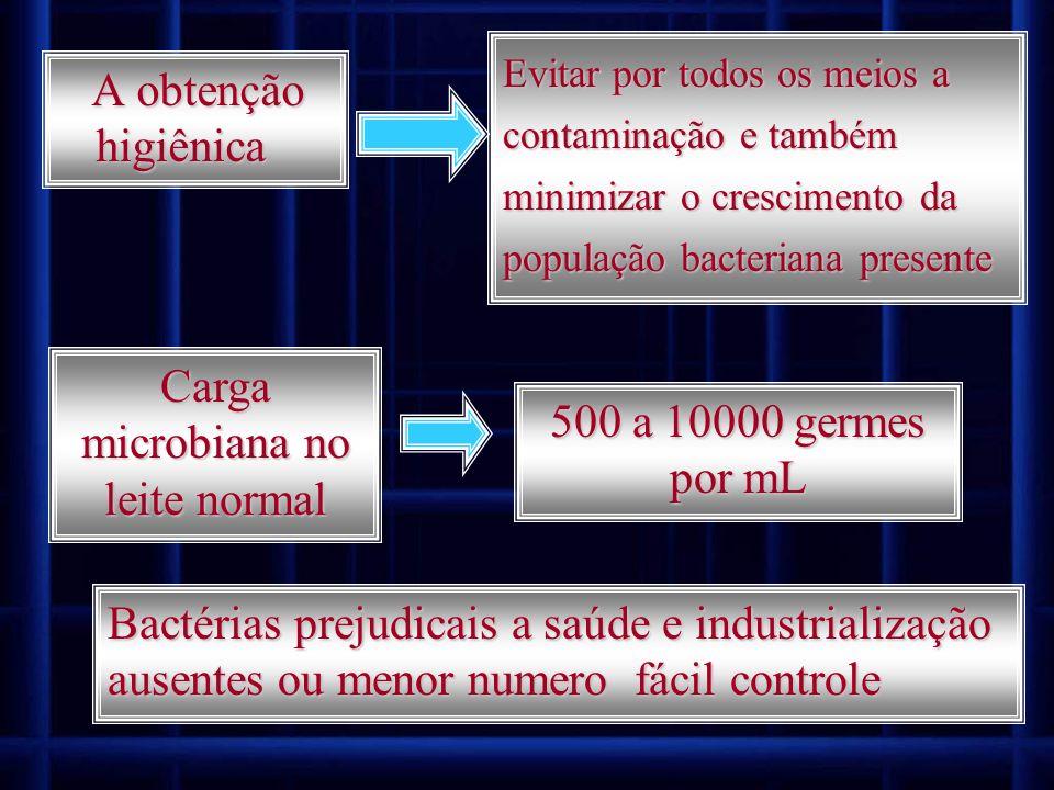 A obtenção higiênica A obtenção higiênica Evitar por todos os meios a contaminação e também minimizar o crescimento da população bacteriana presente C