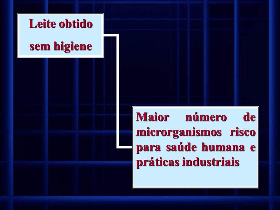 Leite obtido sem higiene Maior número de microrganismos risco para saúde humana e práticas industriais