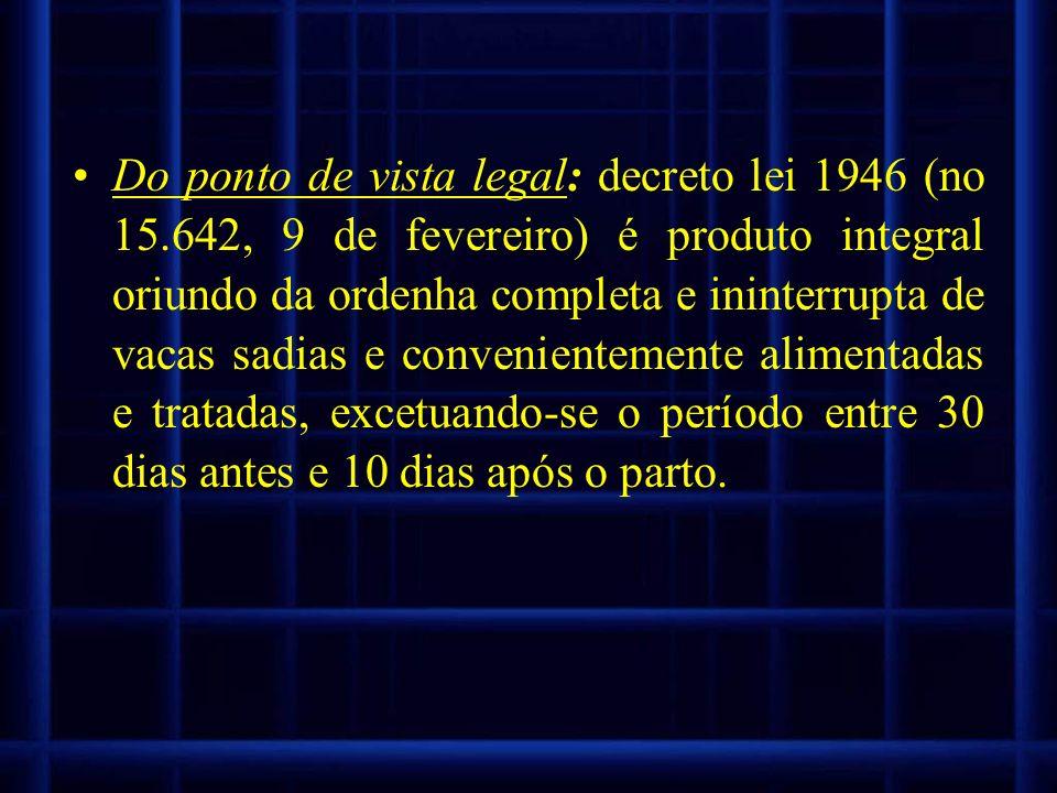 Do ponto de vista legal: decreto lei 1946 (no 15.642, 9 de fevereiro) é produto integral oriundo da ordenha completa e ininterrupta de vacas sadias e