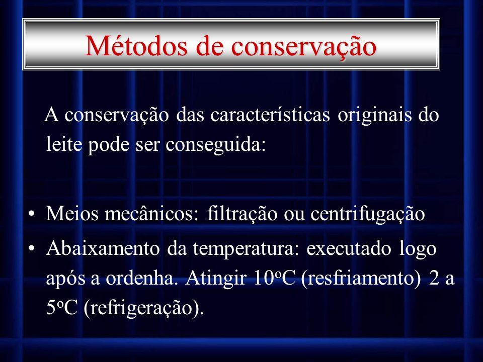 Métodos de conservação A conservação das características originais do leite pode ser conseguida: Meios mecânicos: filtração ou centrifugação Abaixamen