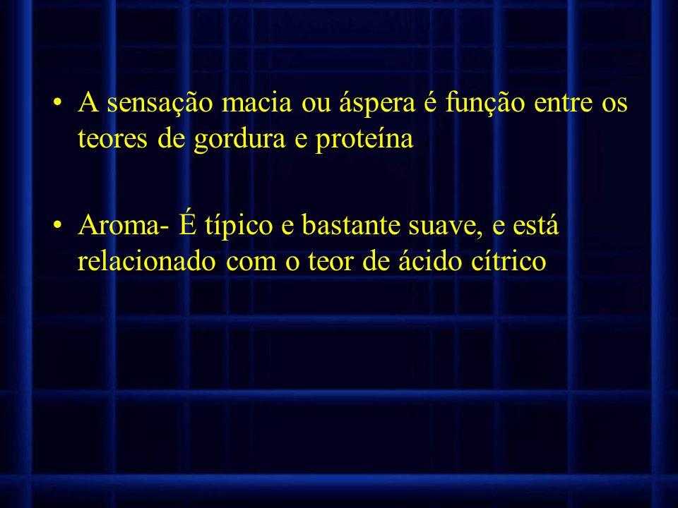A sensação macia ou áspera é função entre os teores de gordura e proteína Aroma- É típico e bastante suave, e está relacionado com o teor de ácido cít