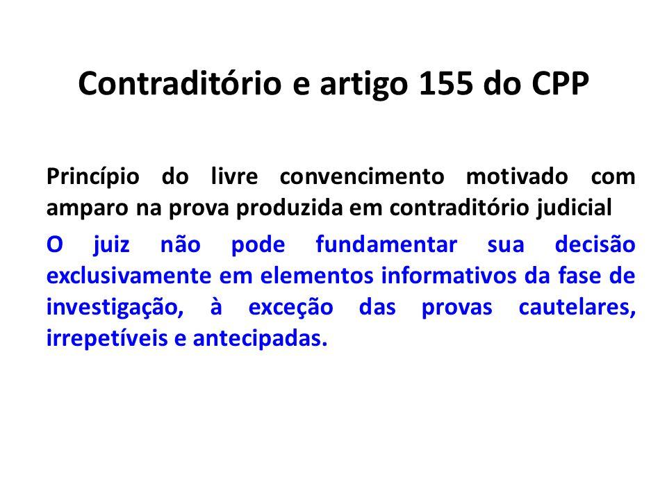 Contraditório e artigo 155 do CPP Princípio do livre convencimento motivado com amparo na prova produzida em contraditório judicial O juiz não pode fu