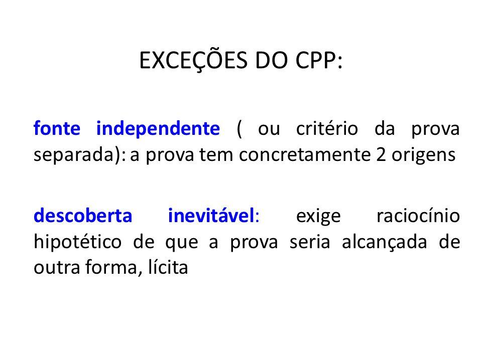 EXCEÇÕES DO CPP: fonte independente ( ou critério da prova separada): a prova tem concretamente 2 origens descoberta inevitável: exige raciocínio hipo