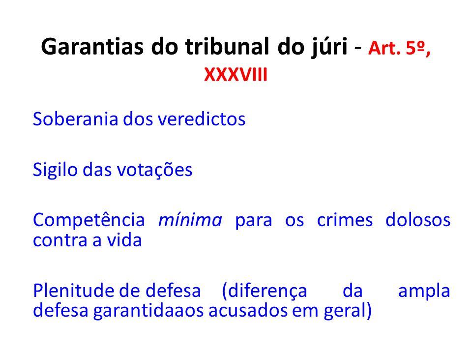 Garantias do tribunal do júri - Art. 5º, XXXVIII Soberania dos veredictos Sigilo das votações Competência mínima para os crimes dolosos contra a vida