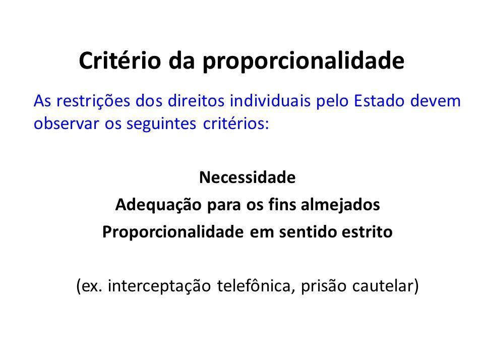 Critério da proporcionalidade As restrições dos direitos individuais pelo Estado devem observar os seguintes critérios: Necessidade Adequação para os