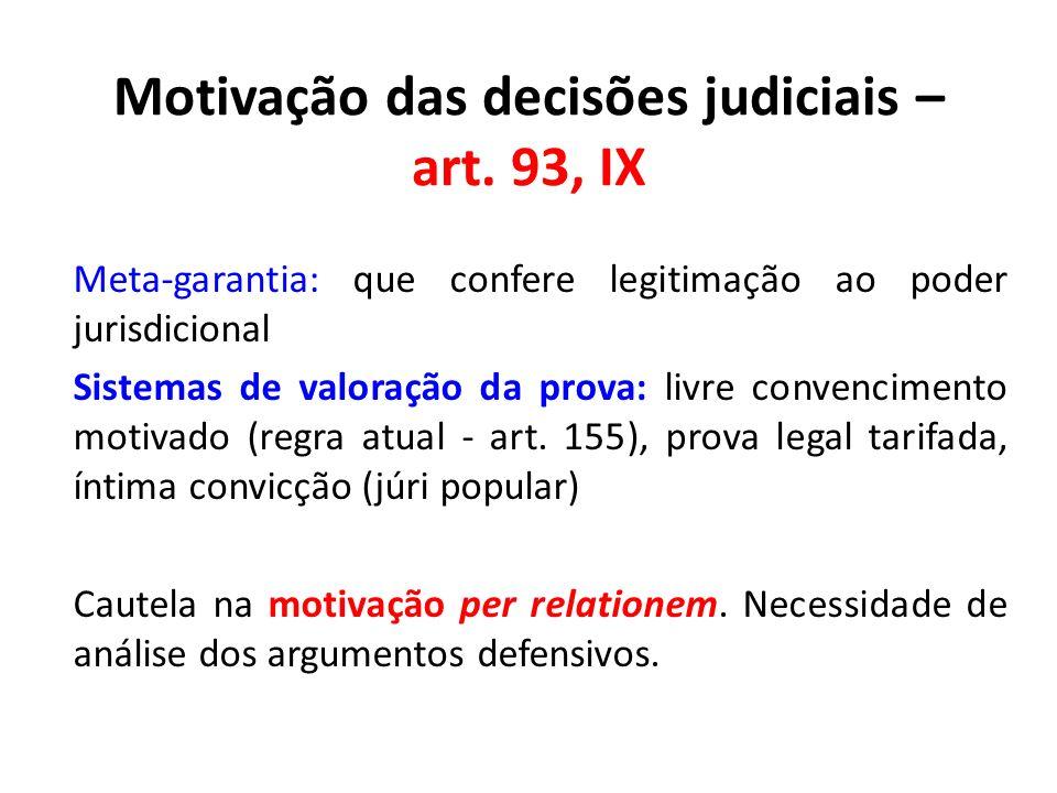 Motivação das decisões judiciais – art. 93, IX Meta-garantia: que confere legitimação ao poder jurisdicional Sistemas de valoração da prova: livre con