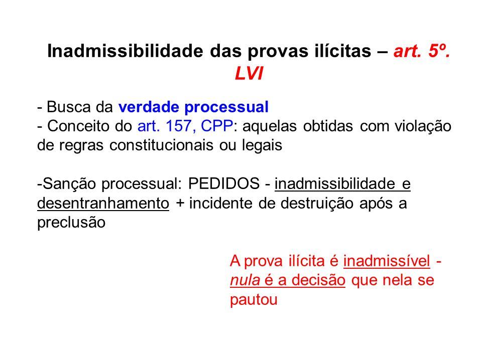 Inadmissibilidade das provas ilícitas – art. 5º. LVI - Busca da verdade processual - Conceito do art. 157, CPP: aquelas obtidas com violação de regras