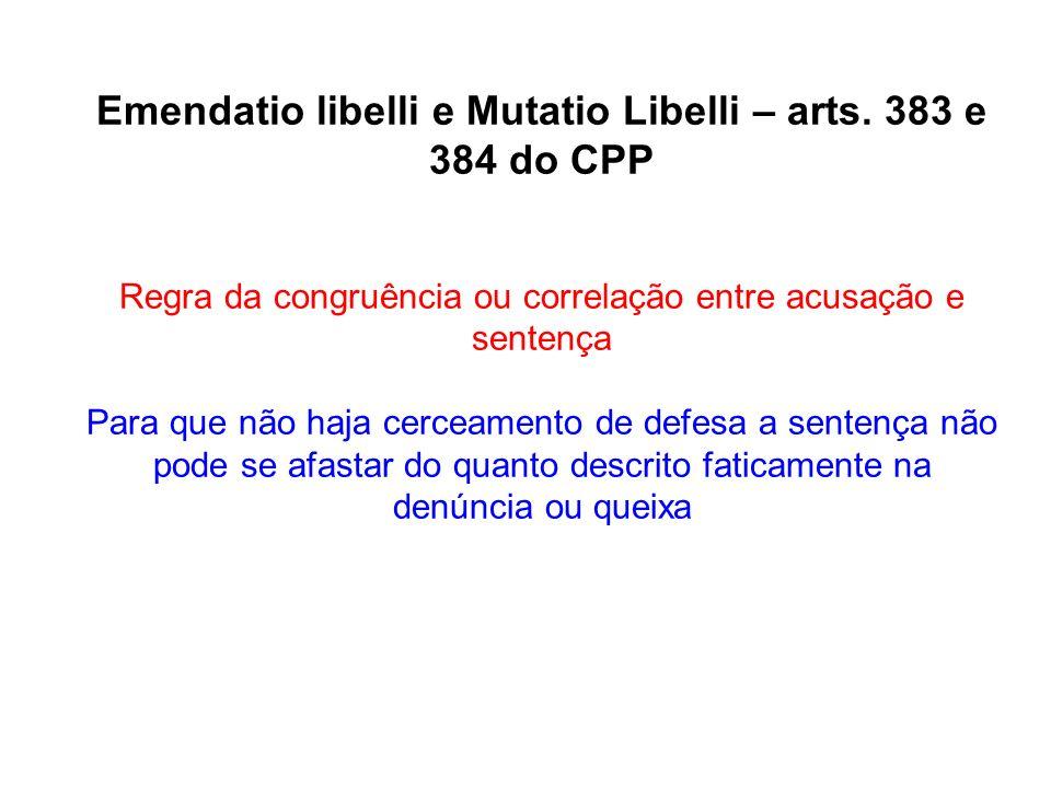 Emendatio libelli e Mutatio Libelli – arts. 383 e 384 do CPP Regra da congruência ou correlação entre acusação e sentença Para que não haja cerceament