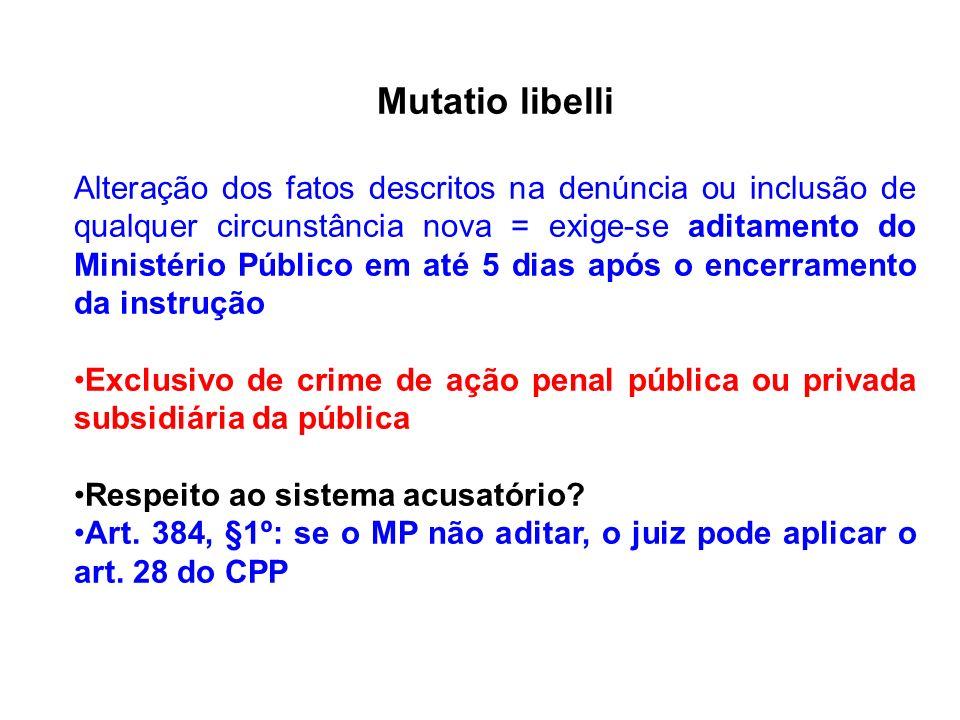 Mutatio libelli Alteração dos fatos descritos na denúncia ou inclusão de qualquer circunstância nova = exige-se aditamento do Ministério Público em at