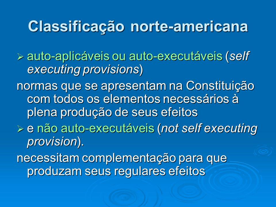 Classificação norte-americana auto-aplicáveis ou auto-executáveis (self executing provisions) auto-aplicáveis ou auto-executáveis (self executing prov