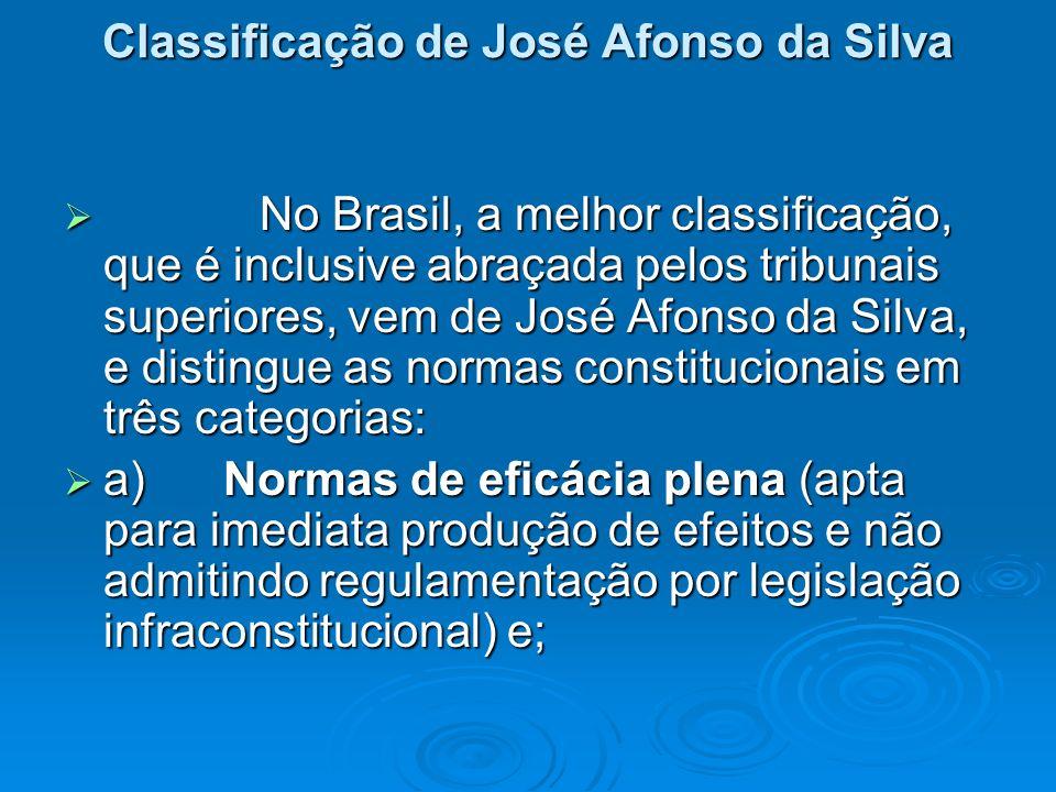 Classificação de José Afonso da Silva No Brasil, a melhor classificação, que é inclusive abraçada pelos tribunais superiores, vem de José Afonso da Si
