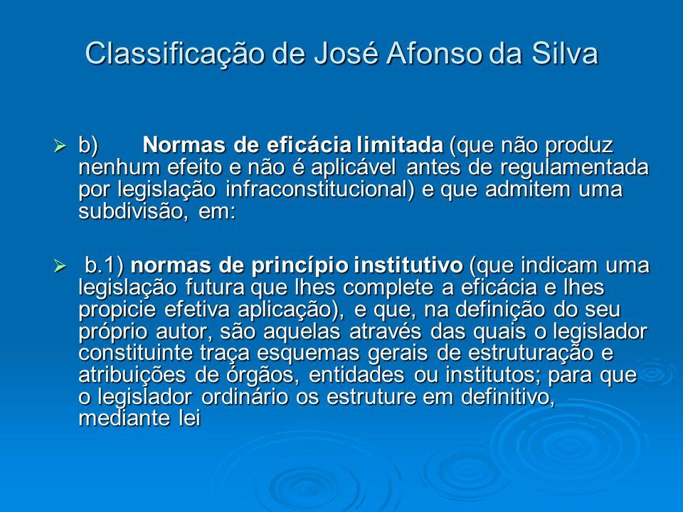 Classificação de José Afonso da Silva b) Normas de eficácia limitada (que não produz nenhum efeito e não é aplicável antes de regulamentada por legisl