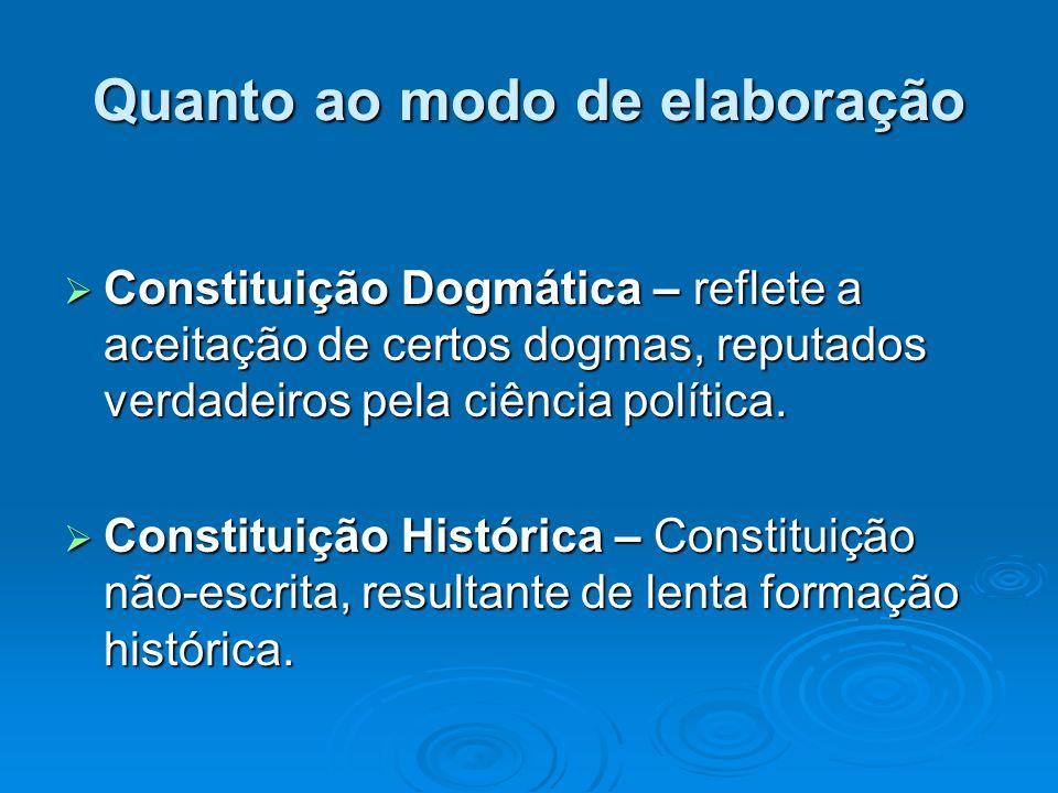 Quanto ao modo de elaboração Constituição Dogmática – reflete a aceitação de certos dogmas, reputados verdadeiros pela ciência política. Constituição