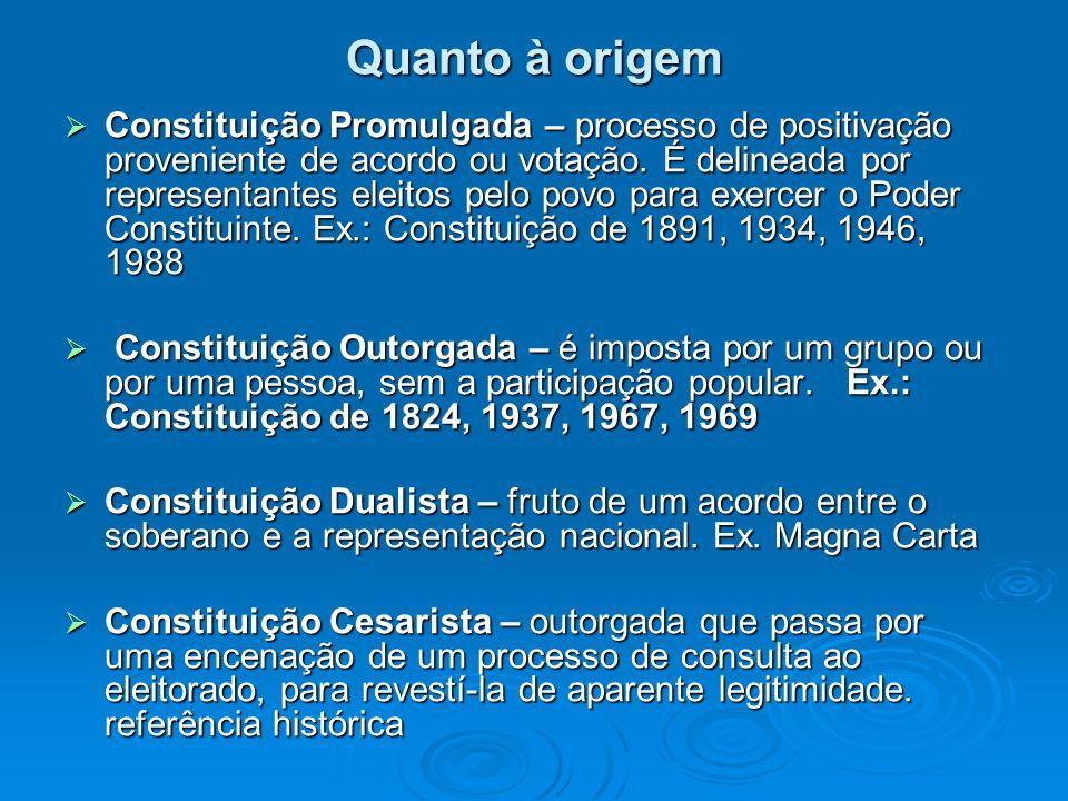 Quanto à origem Constituição Promulgada – processo de positivação proveniente de acordo ou votação. É delineada por representantes eleitos pelo povo p