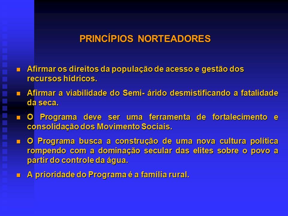 PRINCÍPIOS NORTEADORES nO programa é concebido, executado e gerido pela sociedade civil organizada na ASA. nA ASA busca parcerias para execução do pro