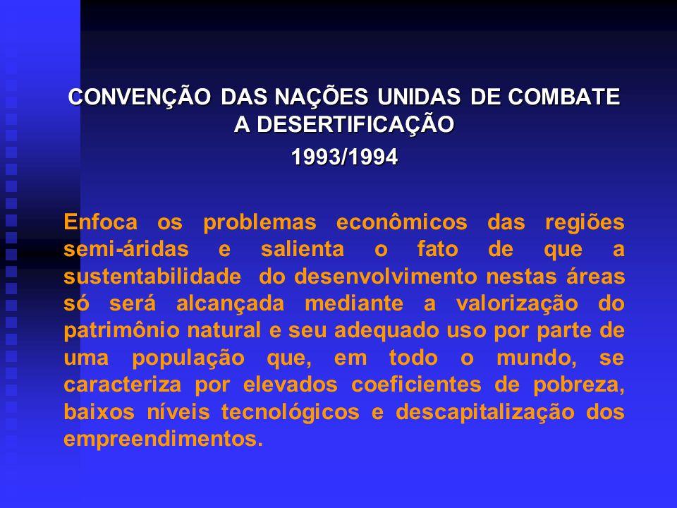 CONVENÇÃO DAS NAÇÕES UNIDAS DE COMBATE A DESERTIFICAÇÃO 1993/1994 Documento já Ratificado por Diversos Países e que Estabelece as Diretrizes para o co
