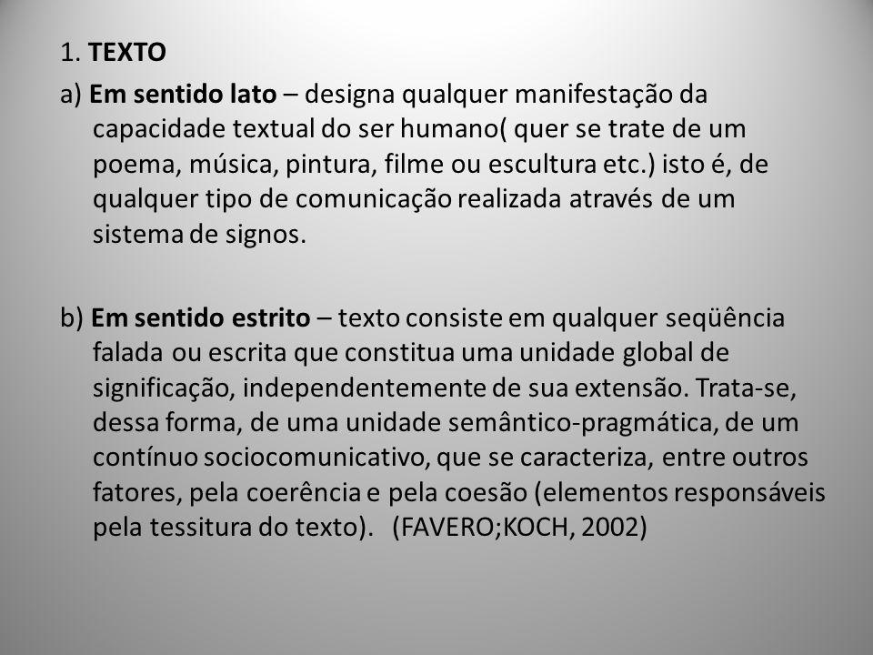 1. TEXTO a) Em sentido lato – designa qualquer manifestação da capacidade textual do ser humano( quer se trate de um poema, música, pintura, filme ou