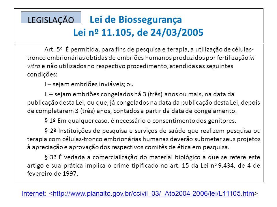 Lei de Biossegurança Lei nº 11.105, de 24/03/2005 Art. 5 o É permitida, para fins de pesquisa e terapia, a utilização de células- tronco embrionárias